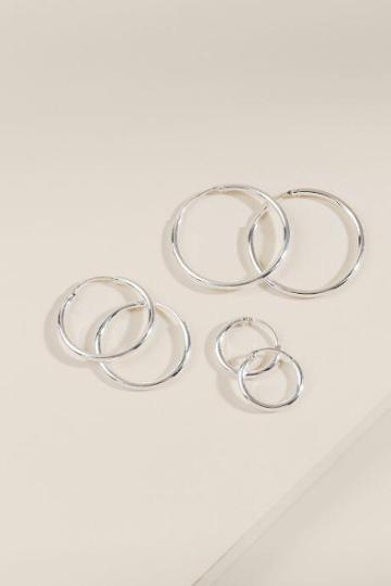 Francesca's Rainah Metal Hoop Set - Silver
