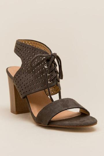 Restricted Carolynn Lace Up Block Heel - Olive