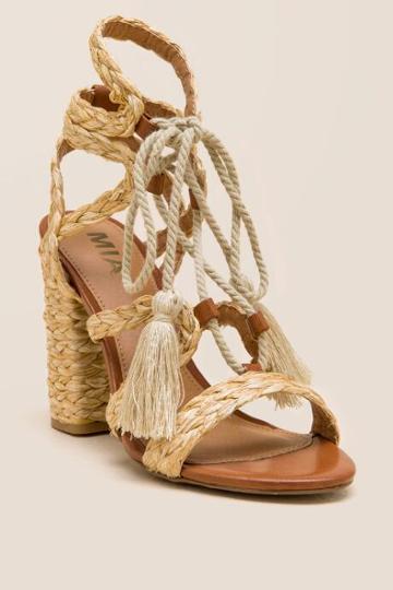 Mia Gigi Lace Up Raffia Block Heel - Natural