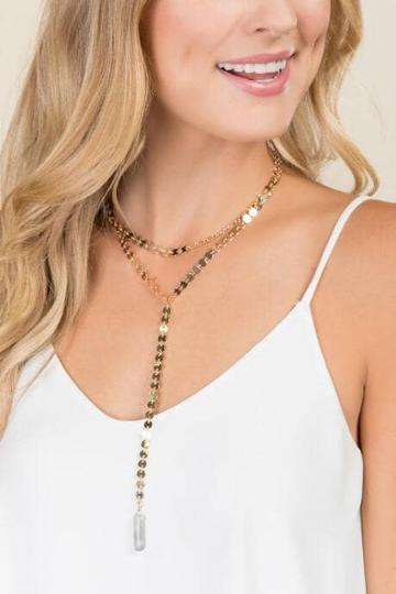 Francesca's Lindsey Chain Y Necklace - Gold