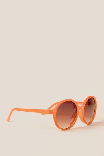Francesca's Tempo Round Sunglasses - Coral