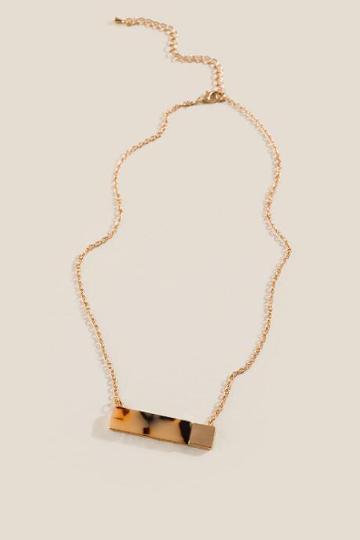 Francesca's Dena Marbled Resin Bar Pendant Necklace - Amber