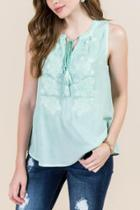 Francesca's Heather Ombre Embroidered Top - Mint