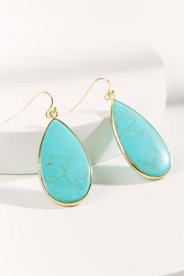 Francesca Inchess Long Semi Teardrop Earrings - Turquoise