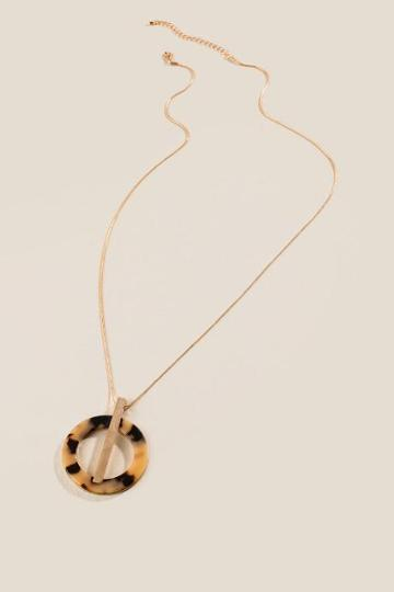 Francesca's Clarice Circle And Bar Pendant Necklace - Gold