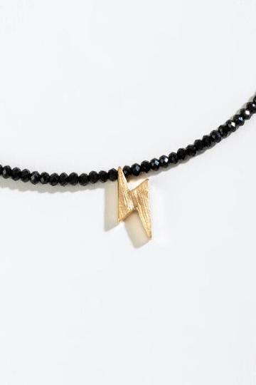 Francesca's Reagan Lightning Bolt Pendant Necklace - Black