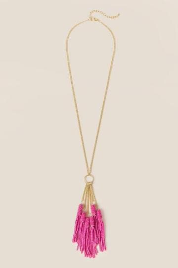 Francesca's Miran Beaded Necklace In Pink - Neon Pink