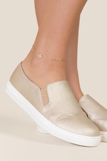 Francesca's Ines Rose Quartz Delicate Anklet - Pale Pink