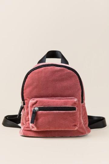 Francesca's Amara Mini Velvet Backpack - Blush