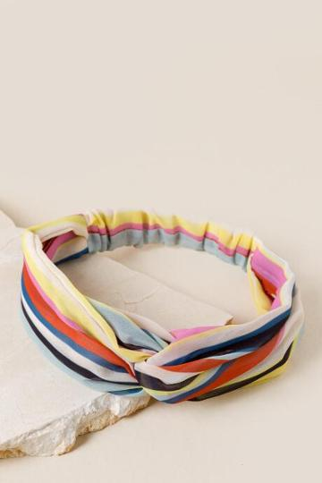 Francesca's Lydia Striped Headwrap - Multi