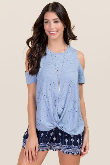 Alya Stephanie Distressed Cold Shoulder Knit Tee - Oxford Blue