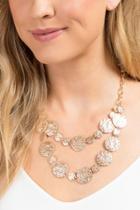 Francesca's Hammered Metal Circle Statement Necklace - Gold