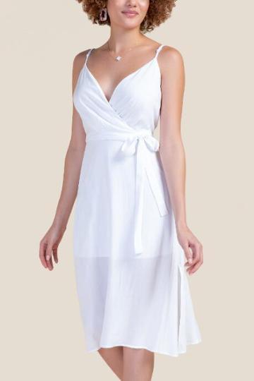 Francesca's Lily Wrap Midi Dress - White