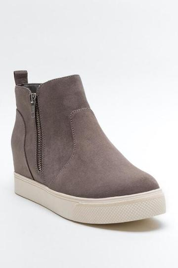 Steve Madden Wedgie Suede Sneaker - Taupe