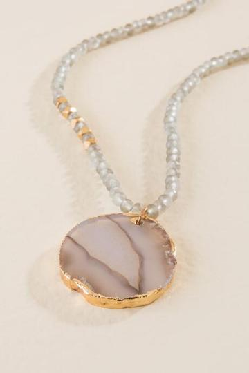 Francesca Inchess Wynter Beaded Agate Pendant - Gray