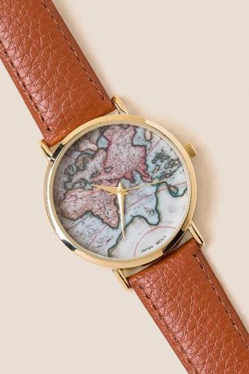 Francesca's Alicia Map Watch - Cognac