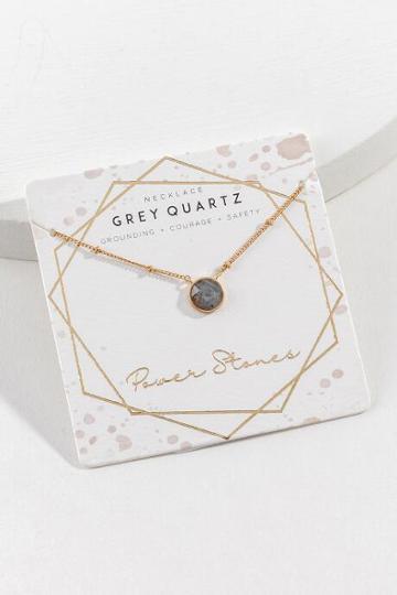 Francesca's Power Stone Semi-precious Pendant Necklace - Gray
