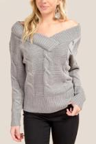 Francesca Inchess Nikki Double Vneck Cable Knit Sweater - Heather Gray