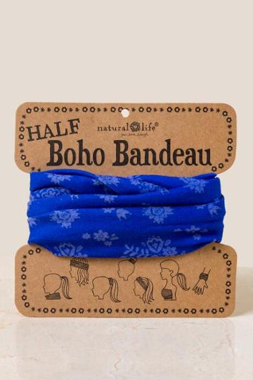 Francesca's Boho Bandeau In Indigo Flowers - Blue