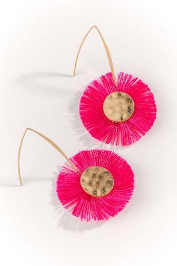 Francesca's Thread Tassel Fish Hook Earrings - Fuchsia