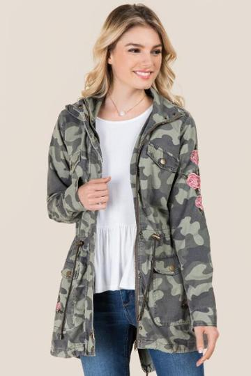 Francesca's Trina Embroidered Camo Anorak - Olive