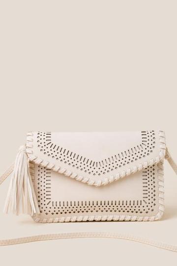 Francesca's Kamyrn Perforated Envelope Crossbody - Ivory
