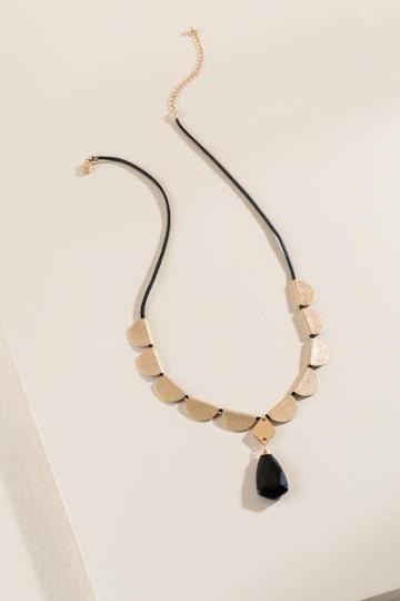 Francesca's Chey Stone Pendant Necklace - Black
