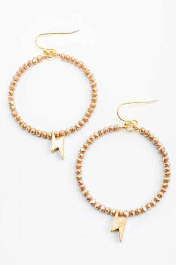Francesca's Bianca Beaded Lightning Circle Drop Earrings - Beige