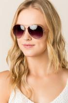 Francesca's Pepper Aviator Sunglasses - Gold