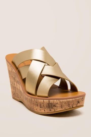 Indigo Rd. Vechi Weaved Strap Wedge - Gold