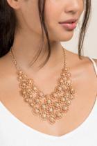 Francesca's Ariane Mini Floral Statement Necklace - Gold
