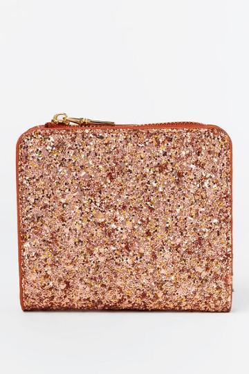 Francesca's Patti Glitter Zip Around Wallet - Rose/gold