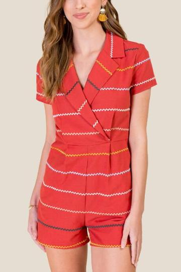 Francesca's Alexandra Collared Romper - Cinnamon
