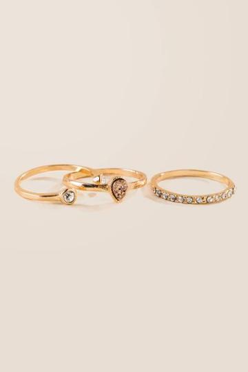 Francesca's Christine Druzy Ring Set - Rose/gold
