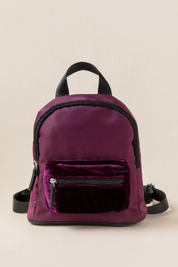 Francesca's Finola Mini Nylon And Velvet Backpack - Wine