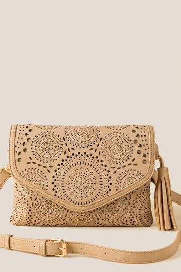 Francesca's Emma Perforated Crossbody - Tan
