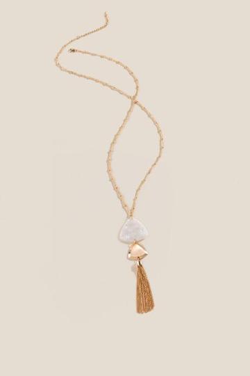 Francesca's Diana Metal Tassel Pendant Necklace - Ivory
