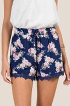 Francesca's Makena Crochet Lace Soft Shorts - Navy