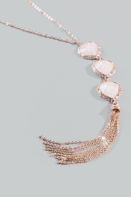 Francesca Inchess Caylie Rose Gold Tassel Necklace - Rose/gold