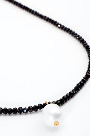 Francesca's Sage Beaded Pearl Pendant Necklace - Black