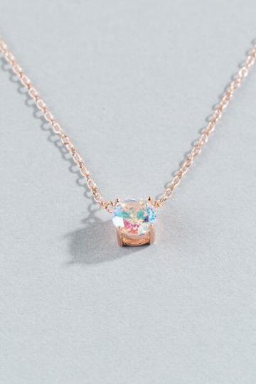 Francesca Inchess Gemma Iridescent Crystal Pendant - Rose/gold