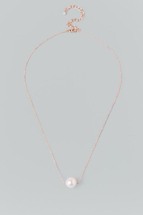 Francesca's Verena Pearl Pendant Necklace In Rose Gold - Rose/gold