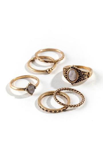 Francesca's Rachel Boho Ring Set - Rose