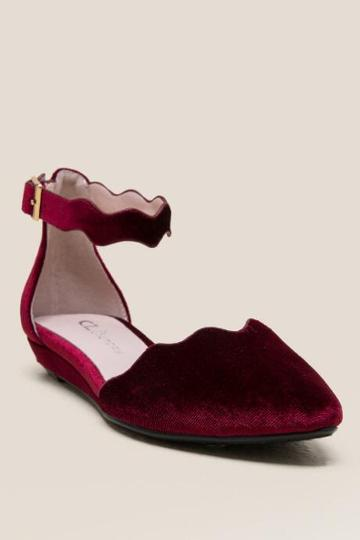 Cl By Laundry Studio Scalloped Flat - Wine