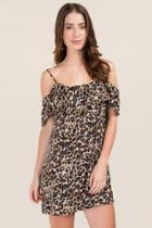 Mi Ami Janet Leopard Shift Dress - Brown