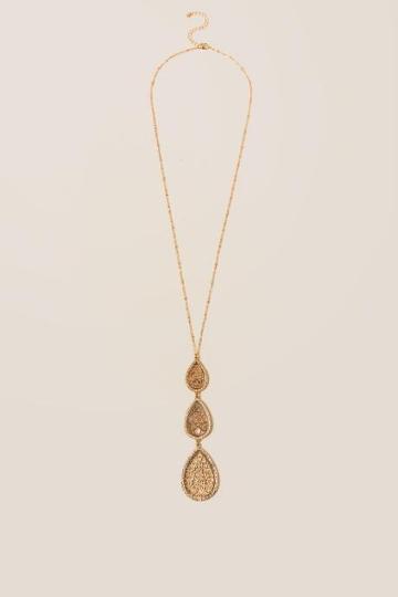 Francesca Inchess Jezabel Teardrop Filigree Pendant - Gold