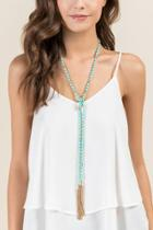 Francesca's Raven Tassle Necklace - Mint