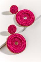 Francesca's Myanna Beaded Circle Earrings - Fuchsia
