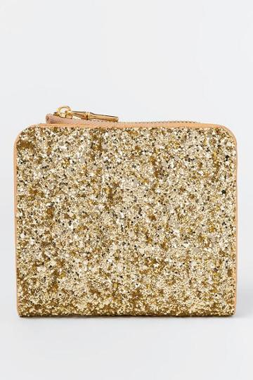 Francesca's Patti Glitter Zip Around Wallet - Gold