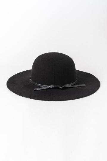 Francesca's Rachel Round Crown Floppy Hat - Black